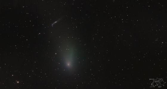 Komet 45P und Wal-Galaxie (NGC 4631)